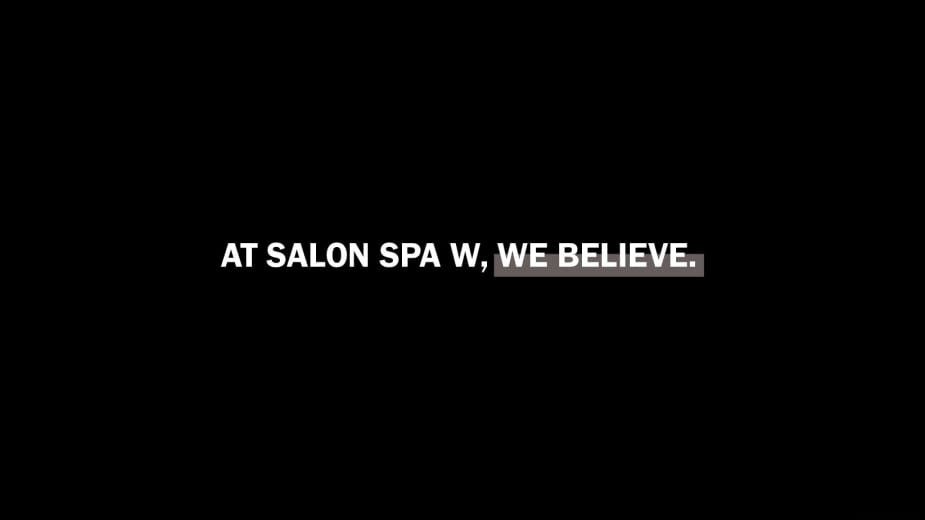 Large Black Rectangle with white text that says at salon spa w, we believe.