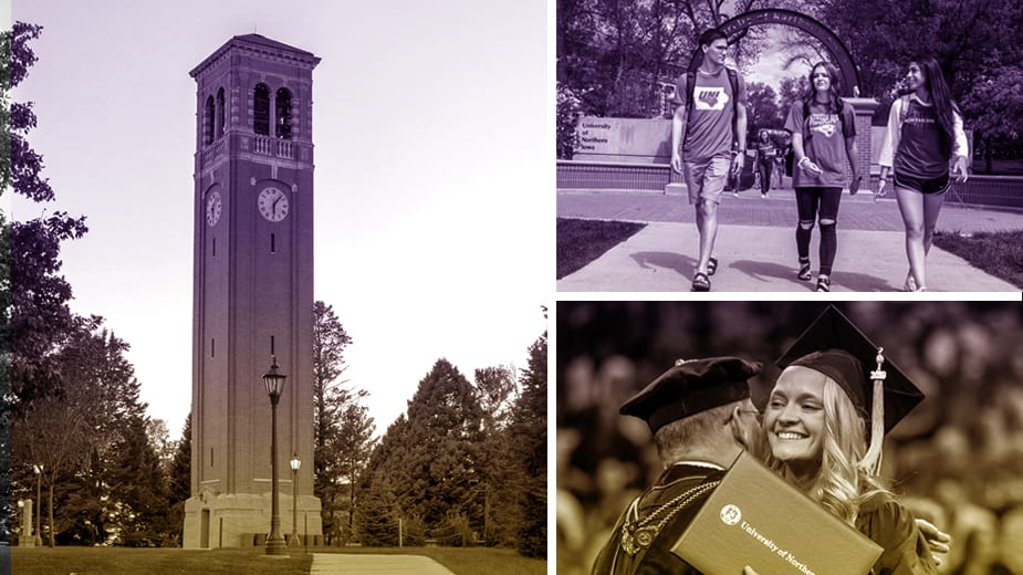 Left picture in the collage is the Campanille with a purple/gold gradient. top right is 3 students walking a path. bottom left is a graduate hugging the Dean